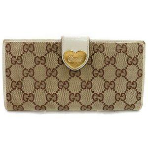 Auth Gucci Gg Heart Wallet Beige Canvas #4279G52